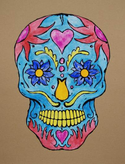 Tattoo Skull hand colored with gouche and gesso